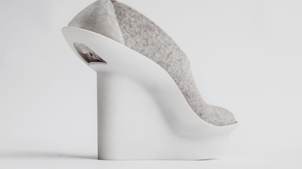 Felt and 3D printed shoe design by Liz Ciokajlo